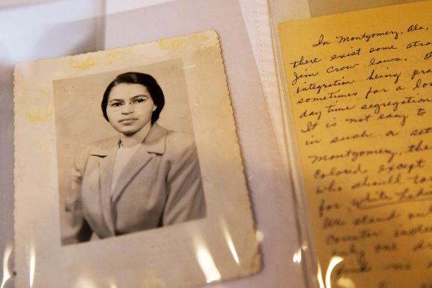 FILE - In this Jan. 29, 2015 shows a photograph of Rosa Parks circa the 1950's and a paper written by...