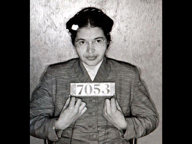 Rosa Parks mugshot from Montgomery Alabama Sheriff's office, B&W photo on