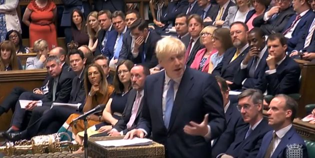 Prime Minister Boris Johnson issues a statement to the House of Commons, in London. (Photo by House of...