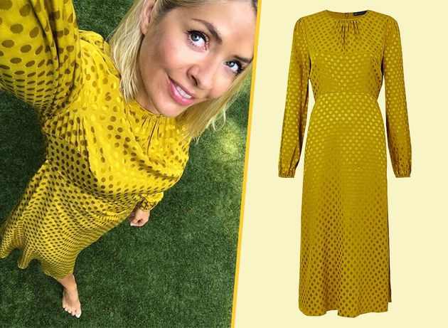Holly Willoughbys M&S Spotty Mustard Dress Is Less Than £60