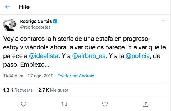 El tuit de Rodrigo