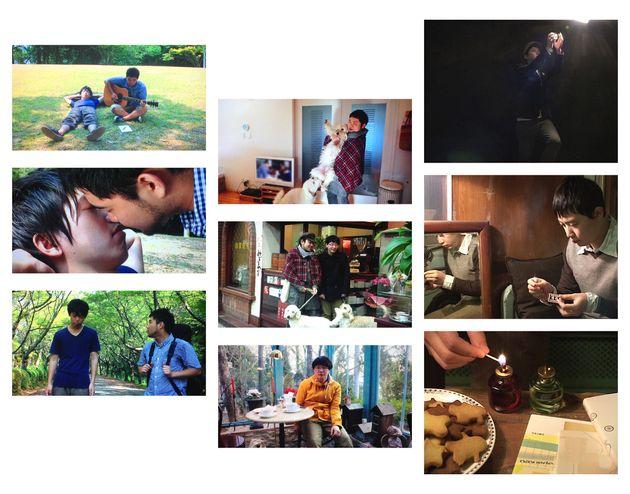 (左から)LGBTQ団体「プラウド香川」が制作と田中さんが監督を務めたゲイの短編映画「エソラ」、田中さんとパートナーの川田さんとの生活を描いたドキュメンタリー「ある家族の肖像」、そして2人が出会って間もないころの作品「フユノイエ」の3作が上映される