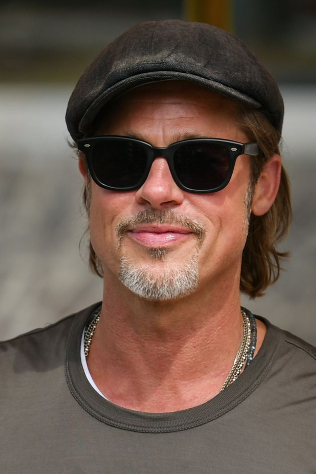 US actor Brad Pitt arrives by taxi boat on August 28, 2019 during the 76th Venice Film Festival at Venice...