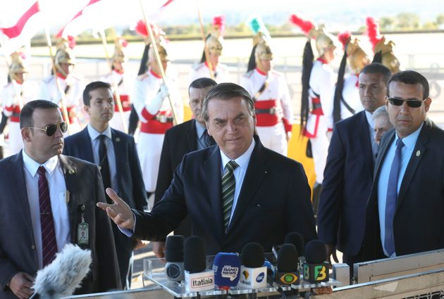 In this handout photo released by the government news agency Agencia Brasil, Brazil's President Jair...