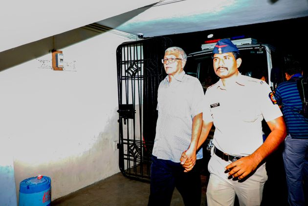 Activist Vernon Gonsalves taken to Farazkhana Police Station on August 29,