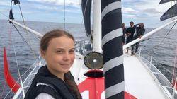 Greta Thunberg llega a Nueva York tras 14 días de