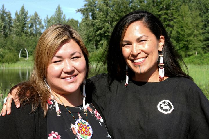 """In this June 19, 2019, photo, Rochelle Adams, left, an Alaska Native cultural advisor, and Princess Johnson, the creative producer for the series """"Molly of Denali"""" appear at the Alaska Native Heritage Center in Anchorage, Alaska."""