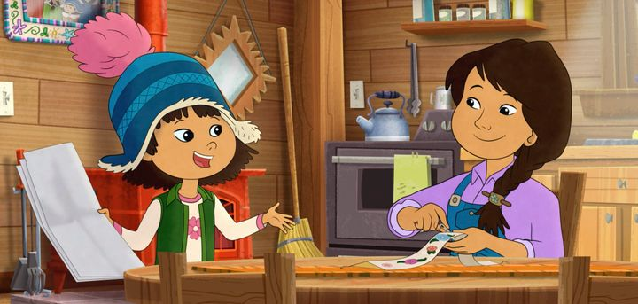 """This image released by PBS shows characters Molly, voiced by Sovereign Bill, left, and her mother, voiced by Jules Koostachin in a scene from the animated series """"Molly of Denali."""""""