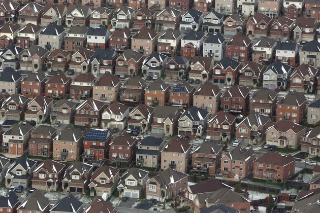 An aerial view of houses in Oshawa, Ont. is shown on Saturday, Nov. 11,
