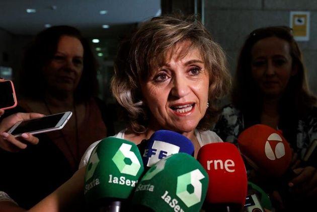 La ministra de Sanidad en funciones, María Luisa Carcedo, hace declaraciones a los medios momentos antes...