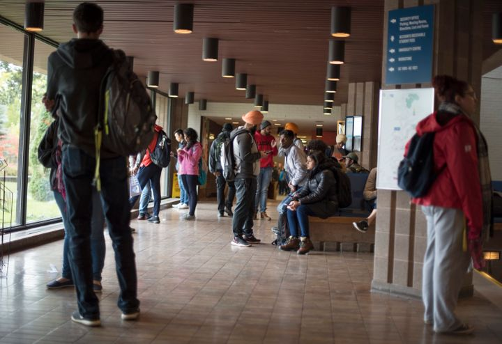Students are seen in a 2018 stock photo at Lakehead University in Thunder Bay, Ont.
