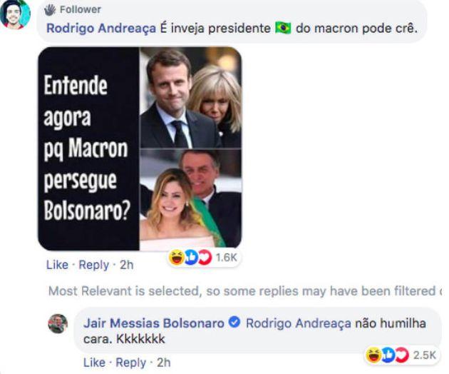Bolsonaro responde a comentário de seguidor que comparou Michelle Bolsonaro e Brigitte