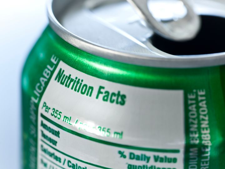 Nutritional information is included on soda cans, but not on alcoholic beverages.
