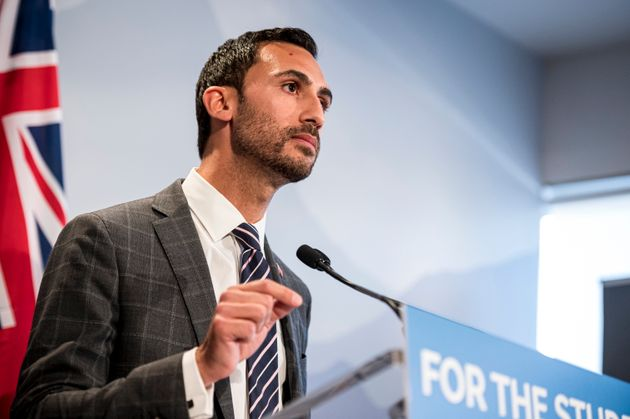 Ontario Minister of Education Stephen Lecce gives remarks at a press conference, in Toronto, on Thursday,...