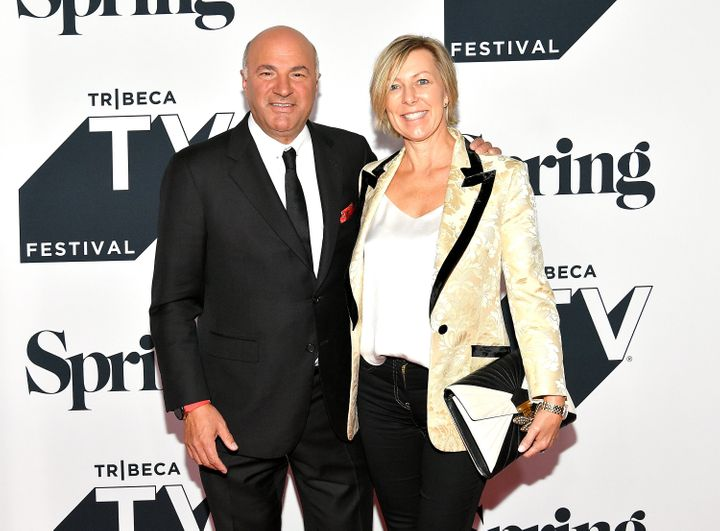 """NEW YORK, NY - SEPTEMBER 23: Kevin O'Leary and Linda O'Leary attend the Tribeca Talks Panel: 10 Years Of """"Shark Tank"""" during"""