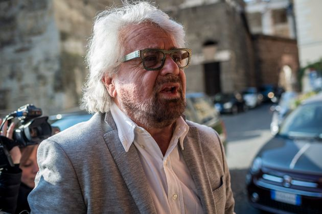 ROME, ITALY - FEBRUARY 20: Co-Founder and Leader of Five-Star movement (M5S) Beppe Grillo, speaks to...