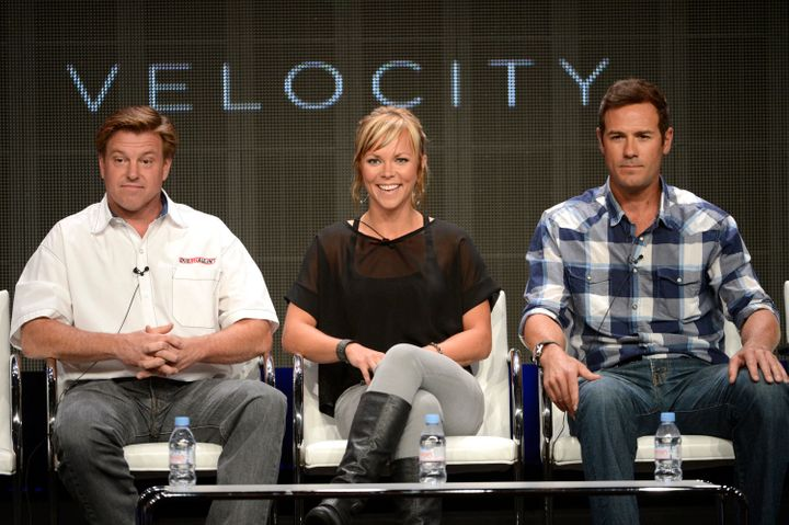 "From L-R - Host Chip Foose and co-hosts Jessi Combs and Chris Jacobs participate in a panel for Velocity's program ""Overhauli"