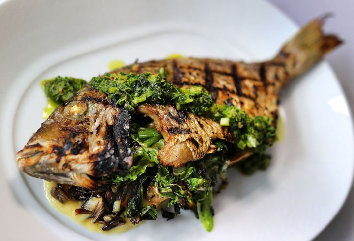 A whole grilled scup at Mooncusser Fish House in Boston on April 6, 2018.