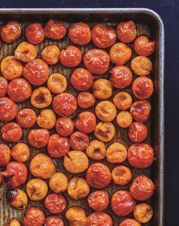 Roasted sheet pan cherry tomatoes from Adeena Sussman's new cookbook