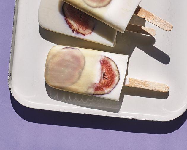 Fig and yogurt pops with magic tahini shell from Adeena Sussman's new cookbook