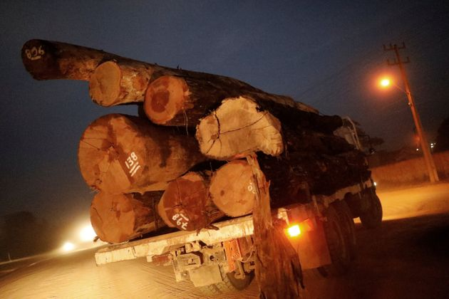 A truck transports logs that were illegally extracted from Amazon rainforest on