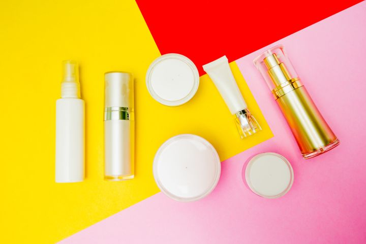 cosmetic product colorful background