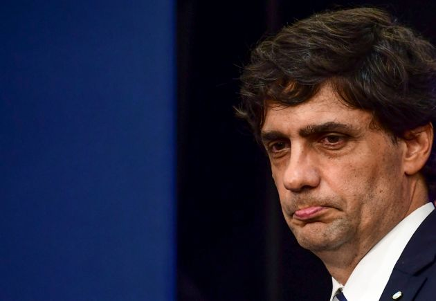 O ministro das Finanças da Argentina, Hernan Lacunza, durante coletiva de imprensa para anunciar...