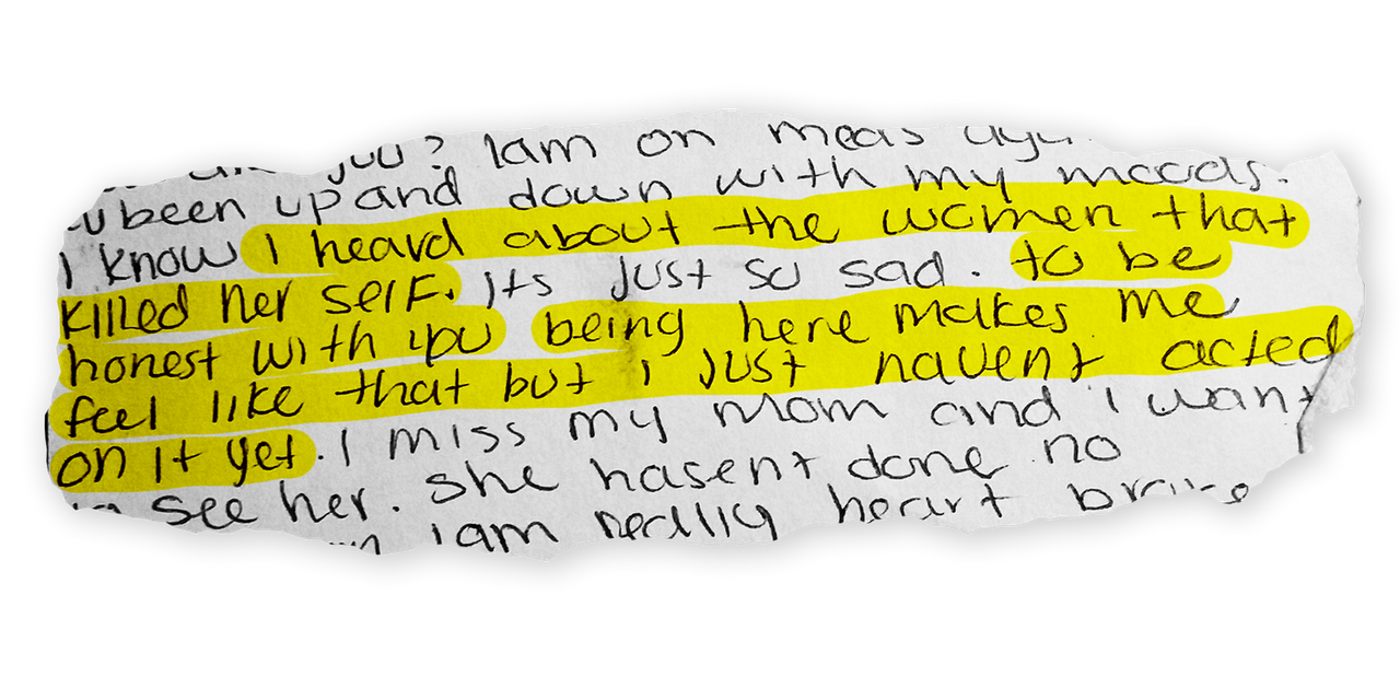 An excerpt from a letter by Mariam Abdullah written behind bars.