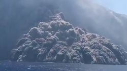 Volcanic Cloud Surges Toward Fleeing Boat After Stromboli