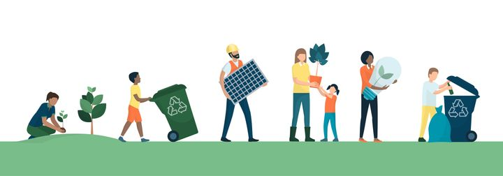 Multiethnic group of people choosing a sustainable eco-friendly lifestyle: they are growing plants, collecting and recycling waste, using renewable energy resources and energy saving lamps