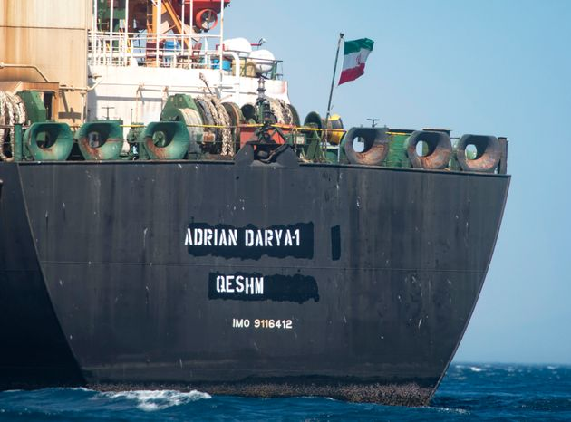 Renamed Adrian Aryra 1 super tanker hosting an Iranian flag, is seen on the water in the British territory...