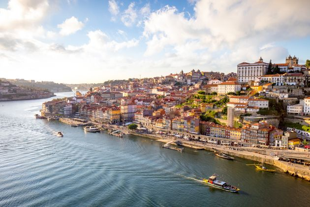 View to Porto over river Douro with reflection of the lights at