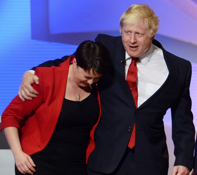 Boris Johnson and Scottish Conservative leader Ruth Davidson embrace after The Great Debate on BBC One,...