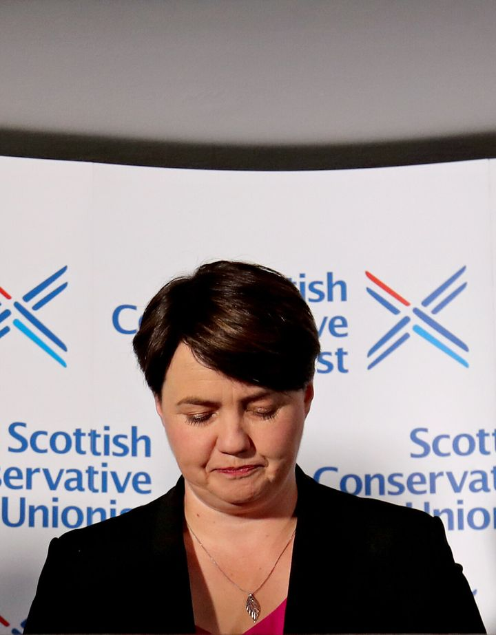 "Leader of the Scottish Conservatives Ruth Davidson during a press conference at Holyrood Hotel in Edinburgh, following her announcement that she has resigned as leader of the Scottish Conservatives, saying holding the post had been the ""privilege of my life"". (Photo by Jane Barlow/PA Images via Getty Images)"