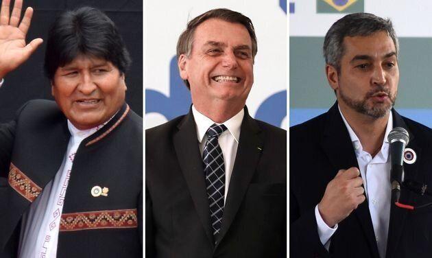 Evo Morales, Jair Bolsonaro y Mario