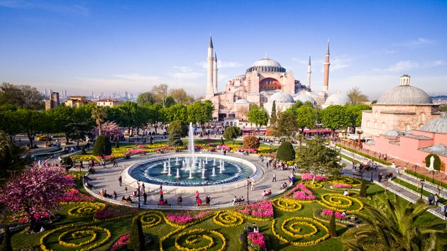 Aerial view of Hagia Sophia in Istanbul,