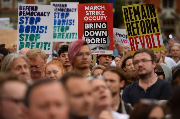 Protestors from Another Europe is Possible outside the Houses of Parliament, London, to demonstrate against...