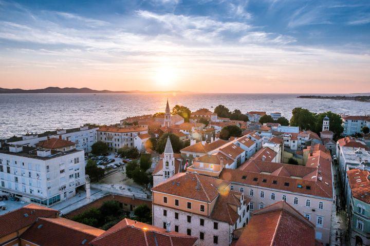 City of Zadar skyline sunset view, Dalmatia, Croatia