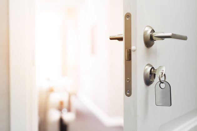 Opening a hotel door