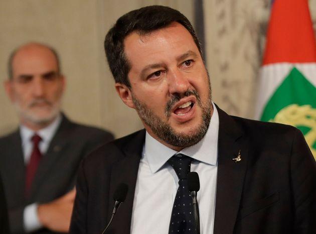 Matteo Salvini devant la presse après avoir rencontré le président italien Sergio...