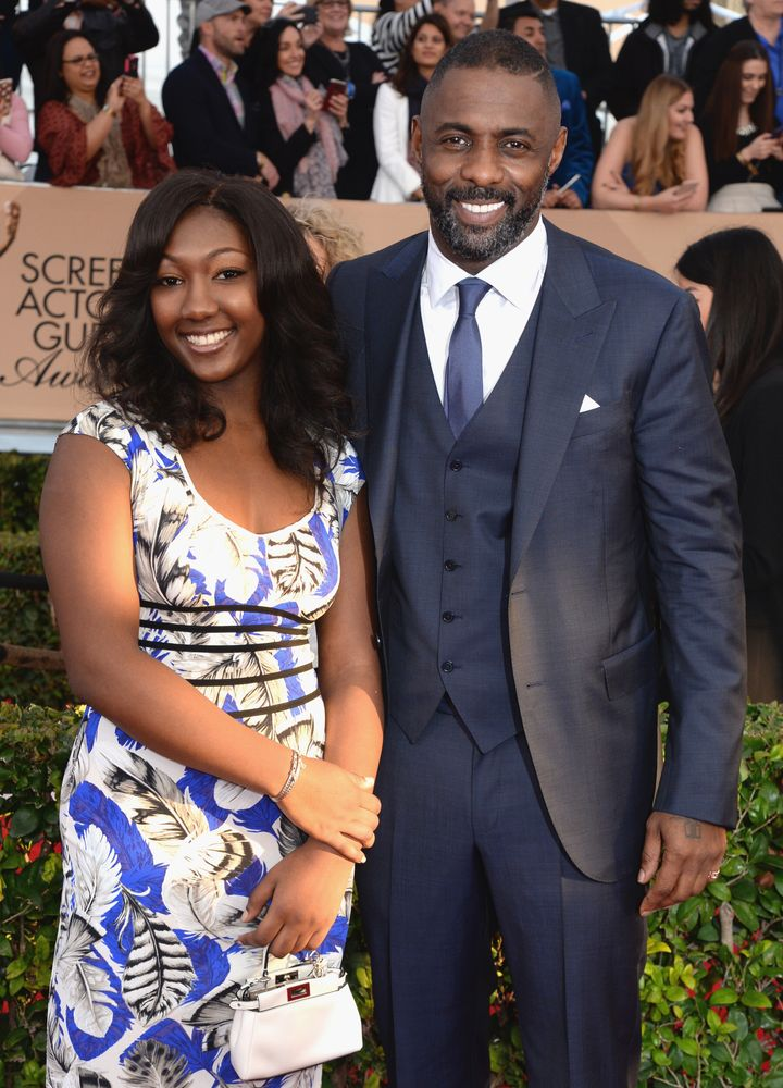 Actor Idris Elba and his daughter Isan Elba on January 30, 2016, in Los Angeles.