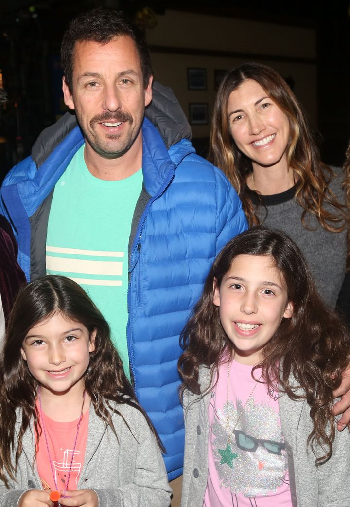 "From left: Sunny Sandler, Adam Sandler, Sadie Sandler and Jackie Sandler pose backstage at the hit musical ""School of Rock"" on Broadway at The Winter Garden Theatre on March 23, 2016, in New York City."