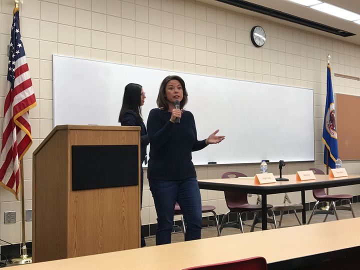 Minnesota Democratic Rep. Angie Craig spoke to a town hall of more than 60 attendees at Lakeville South High School in the su