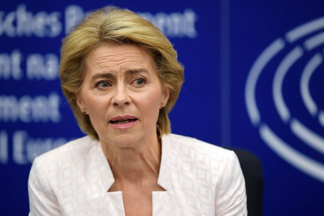 Newly elected European Commission President Ursula von der Leyen speaks as she attends a news conference...