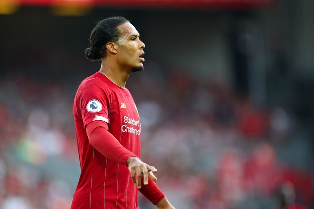 LIVERPOOL, ENGLAND - AUGUST 24: Virgil Van Dijk of Liverpool during the Premier League match between...