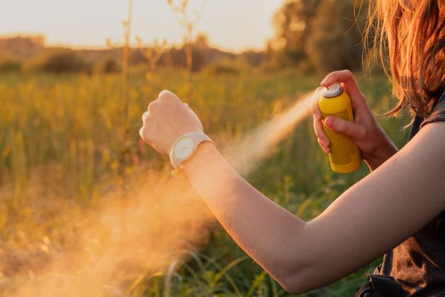 Close-up of young female backpacker tourist applying bug spray on