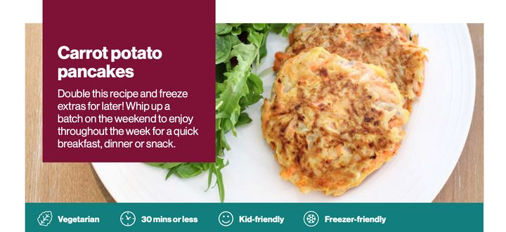 This recipe from Health Canada is fun to make with kids, and you can make a batch and freeze them.