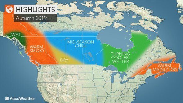 This map shows the fall weather forecast highlights from Accuweather for Canada this year. A wet, humid and warm autumn could be in store for Ontario and Quebec.