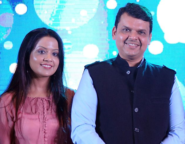 Maharashtra CM Devendra Fadnavis with his wife Amruta in a file
