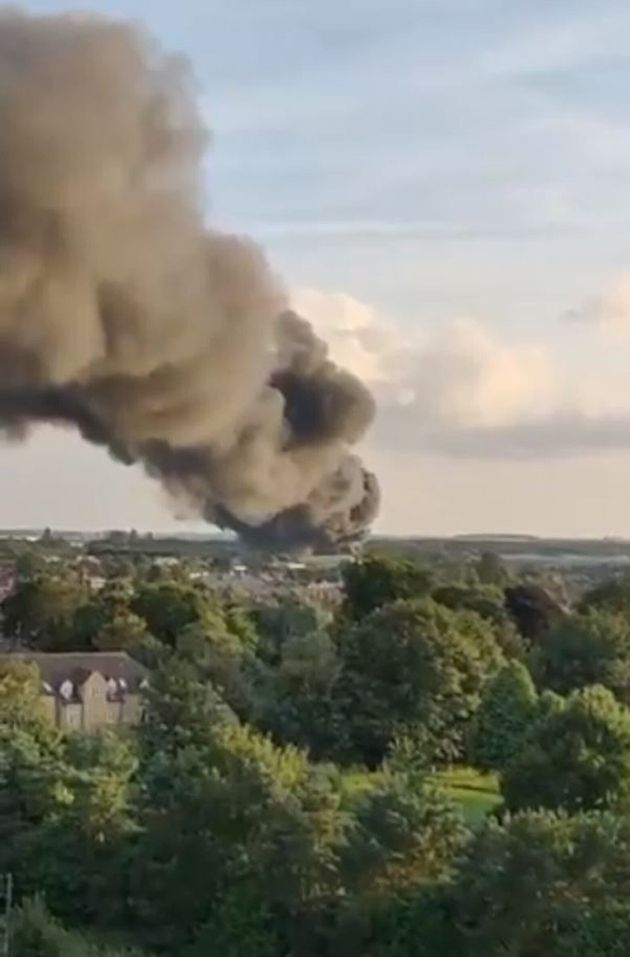 Thick black smoke over Peterborough as firefighters battle a large fire at a Hotpoint